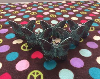 Set of Six Distressed Blue Metal Butterfly Knobs