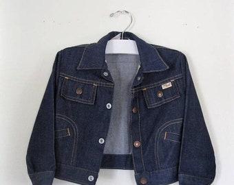 Spring SALE Vintage Children's 60s denim jacket / Hipster Grunge Baby jean jacket / Boho Hippie Baby denim vintage jacket