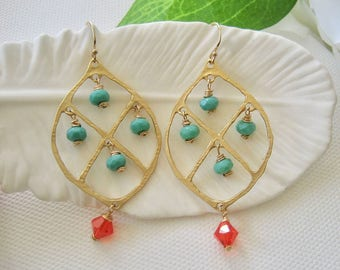 Turquoise Chandelier Earrings, Gold Plated Brass Chandelier Earrings, Turquoise Orange Earrings, Turquoise and Orange Jewelry, Gift For Her