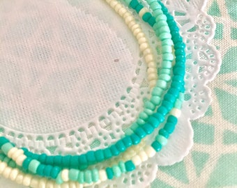 Four strand mint turquoise and white seed bead bracelet for eveyday. Multiple trand bracelet