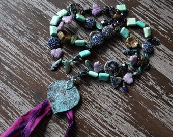 Purple Goddess Necklace - Tassel Necklace - Bohemian Knotted Necklace - Rustic - Bead Soup Jewelry - Leaf Necklace