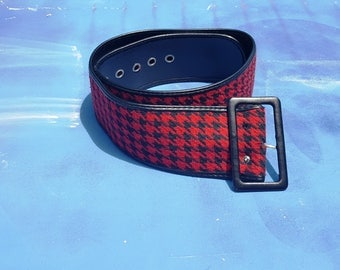 80s Belt in Black and Red Houndstooth, Wide Belt, Vintage Belt, Vegan Belt with Grommets, 80s Costume Fits Waists 31.5 to 36.5