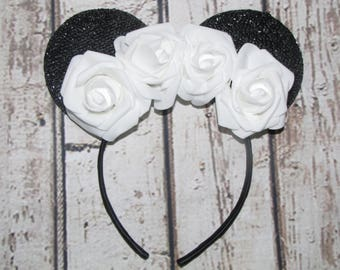 10 minnie mouse inspired party favor headband bow ears disneyland birthday hair accessorie wedding white rose party  10