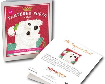 "Maltese Cards  ""Pampered Pooch"" 6 Small Greeting Cards by Krista Brooks"