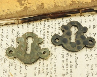2 Vintage Escutcheons Key hole plates Architectural Salvage Steampunk Assemblage Supply