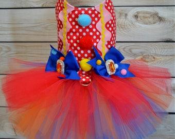 Dog Costume - Halloween - Clown - Tutu Harness Dog Dress - Pet Costume - Small Dog Costume - READY TO SHIP - Cat Costume