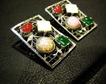 Vintage Rhodium Plated Faux Gemstone Opal Coral Jade Glass Cabochon Clip Earrings