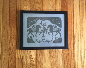 Kentucky Lino Print - Slate Blue