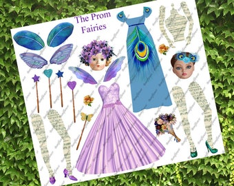 Handmade Digital Art Paper Doll Collage Sheet Flower Fairy Fairies  JPEG PNG Printable Altered Art Journal Scrapbooking Cards Prints Paper