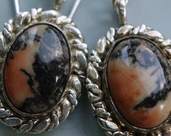 Vintage Petrified Wood Sterling Earrings