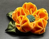 Large Pumpkin Orange  Velvet Puffy Flower Applique