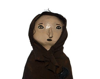 Primitive Crow Woman Shelf Sitter - Shelf Decor - Prim Home Decor