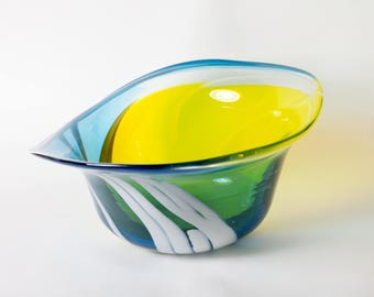 Handblown Yellow, green and blue striped bowl