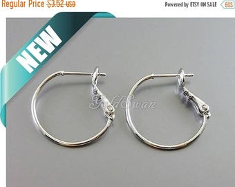 10% SALE 4 pcs / 2 pairs small bright silver 20mm plain hoops, circle hoop earrings, shiny silver huggie earrings 983-BR-20