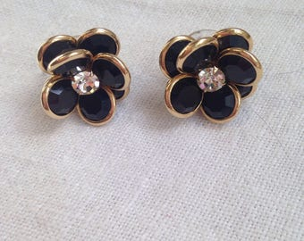 Swarovski Black Bezel Crystal Flower Pierced Earrings with Rhinestone Center.