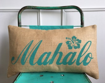 Mahalo thank you turquoise aqua Hawaii burlap pillow hessian cushion cover