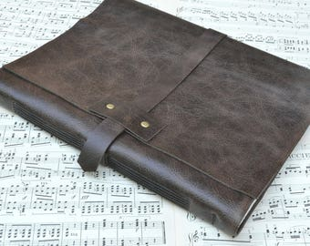 Large Rustic Leather Music Book - For the Maestro - Big Sheets of Blank Staff Paper