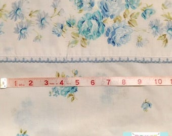 Full Vintage Flat Sheet with Delicate Blue Flowers