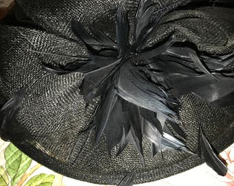 Vintage Ladies 100% Sinamay Straw Hat ~Derby, Wedding