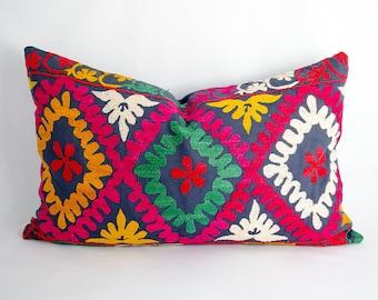 Long Decorative suzani pillow cover, made from vintage suzani embroidery, Lumbar pillow, Bohemian decor,