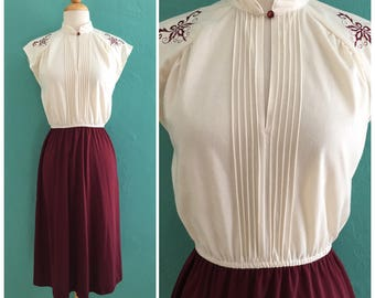 70's cream burgundy dress // cap sleeve dress ~ small medium