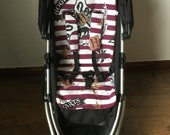 Hand made burgundy stripe print pram pushchair liner cotton  fleece fabric slide on  harness strap covers Harry Potter fabric inspired