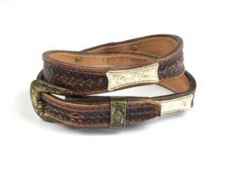 Vintage Weathered Tooled Leather Silver Rivets Belt Double D Saddlery 26