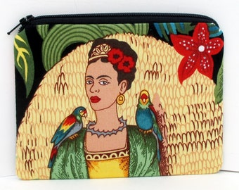 Fridas's Garden with Parrots, Small Zippered Pouch, Coin Purse