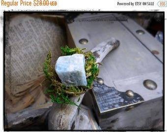 The Landscape Aquamarine Ring. Pale Aquamarine chunk and Lichen green moss rustic ring