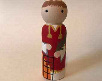 St. Lawerence - Wooden Peg Doll