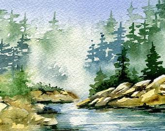 Forest Landscape Painting Original Watercolor