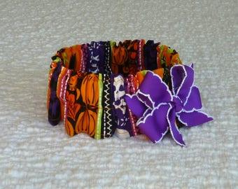 "Pet Bandana, Dog Collar, Halloween Monster Stripes Dog Scrunchie - purple bow - Size M: 14"" to 16"" neck"