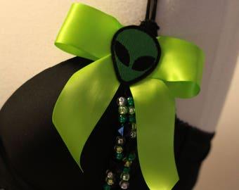Alien Space Cadet Rave Bra & Miniskirt Costume Black Silver Acid Green Lime Top Mini Very Short Skirt Cosplay Costume Halloween Womens 36C