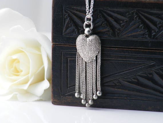 Antique Fob Chain Tassel Heart Pendant | Victorian Fob Ornament | Sterling Silver Love Token - 20 Inch Sterling Chain
