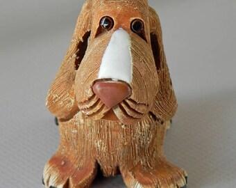 Basset Hound Figure Figurine by Artesania Rinconada. Signed AR. Whimsical Figure Made in Uruguay.