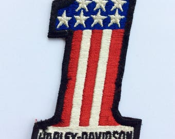 Vintage Harley Davidson Number One American Flag Patch