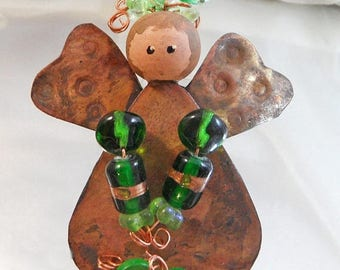 SALE Vintage Copper Art Glass Angel Brooch.  Folk Art Copper Pin. Green Art Glass Beads. Handpainted Angel Pin.  Christmas Pin. Holiday.