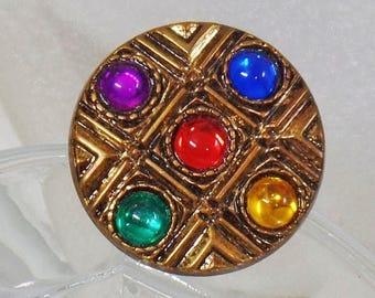 SALE Vintage Round Jeweled Rhinestone Brooch. Jeweltone. Blue Green Red Yellow Purple Five Stone Gold Pin.