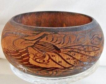 SALE Vintage Carved Wood Bracelet. Tropical Design Wide Bangle.  Birds, Flowers, Monkey Face Bracelet. Ethnic. Exotic.
