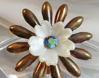 SALE Vintage Flower Brooch. Rainbow Anodized Metal Flower Pin. Blue AB Rhinestone. White Plastic Center. Mod Flower Power
