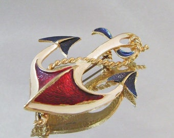 SALE Vintage Brooch Red, White, Blue and Gold Anchor