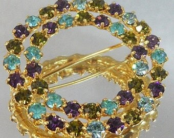 SALE Vintage Green Purple Aqua Rhinestone Circle 1950s Brooch.  Austria. Gold Plated. Aqua Blue. Olive Green. Amethyst Purple.