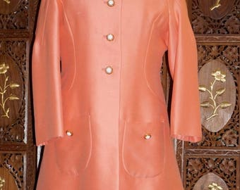 ON SALE 1960s Mod Apricot Sheath Dress & Coat Ensemble Sz 12