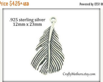 7% off SHOP SALE Bali Sterling Silver LARGE Feather Charms, 12mm x 23mm (oxidized finish), nature inspired, Choose a quantity