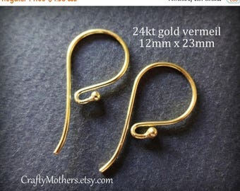 7% off SHOP SALE TWO Pairs Bali 24kt Gold Vermeil Ball Ear Wires (4 pieces), 23mm x 12mm, Artisan-made supplies - Flat Rate Shipping