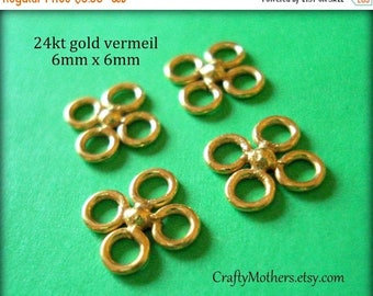 8% off SHOP-WIDE, Bali 24kt Gold Vermeil OR Bright Sterling Silver Mini Clover Links, 6mm, Artisan-made, earrings necklace bracelet