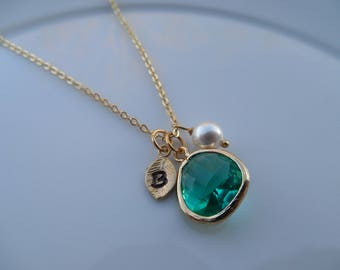 10% Off - December Birthstone Necklace, Gold or Silver Blue Topaz Necklace with Initial Leaf, Jewel, Pearl, Birthday Gift, Bridesmaid Gift