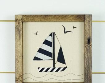 wood signs, wood wall art, Sail boat decor, boat wall art, boys room, framed art, wall hanging, baby nursery, boating decor, boating gifts
