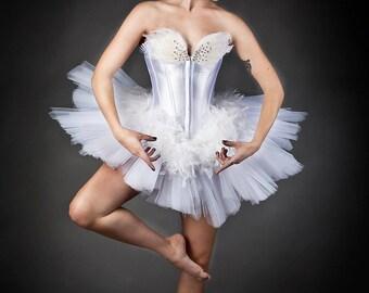 Custom Size White Swan Ballet costume Burlesque tutu