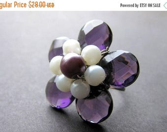 BACK to SCHOOL SALE Purple Crystal Flower Ring with Pearls. Handmade Jewelry by Gilliauna